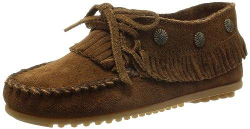 Minnetonka Fringed Moc, Mocasines Mujer, Marrón (Dusty Brown), 36 EU