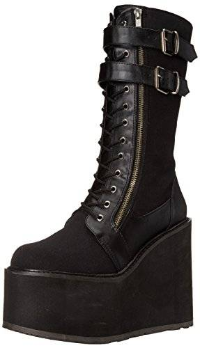 Pleaser Swing 221 - Botas Mujer, Negro (Blk Canvas/Vegan Leather), 37