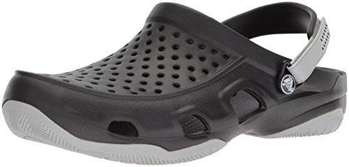 Crocs Swiftwater Deck Clog Men, Hombre Zueco, Negro (Black/Light Grey), 39-40 EU