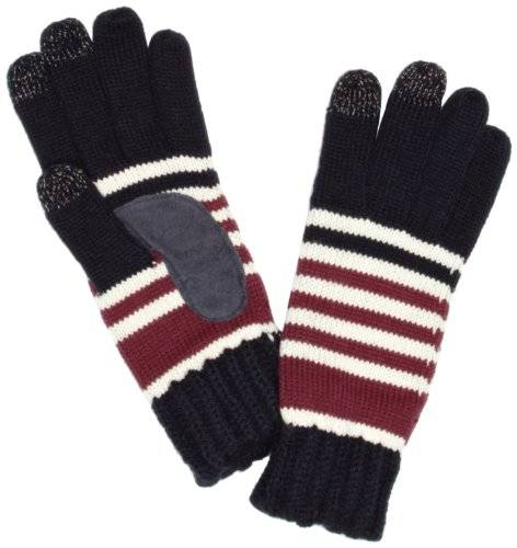 Isotoner Ladies Chunky Knit 3 Finger Smartouch - Guantes para mujer, color multicolored - navy/burgundy stripe, talla Talla única