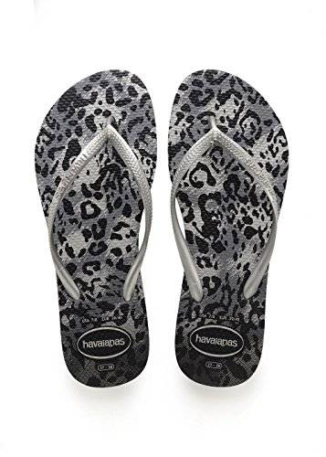 Havaianas Slim Animals, Chanclas Mujer, Multicolor (Grey/Silver), 43/44 EU (41/42 Brazilian)
