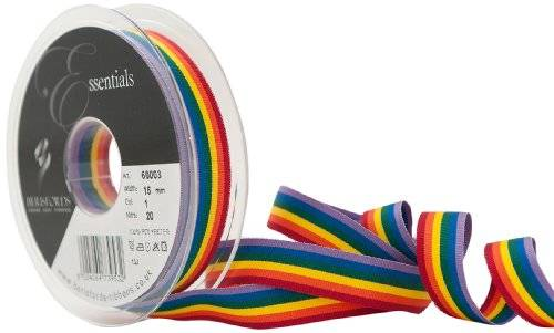 Berisfords Cinta a rayas arco iris Berisfords de 15 mm, multicolor