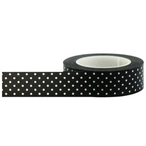 Little B 100047 Decorative Paper Tape, Black with Small White Polka Dots