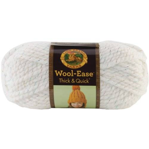 Lion Brand Yarn Company 1 pieza Wool-Ease Thick and Quick, Celebración, Blanco