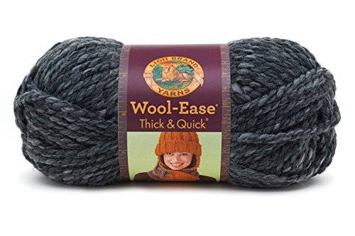 Lion Brand Yarn Company 1 pieza Wool-Ease Thick and Quick, Granito, Gris