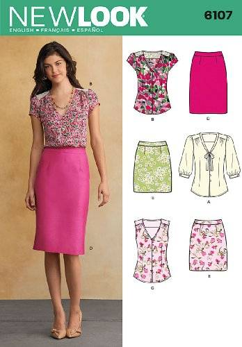 New Look Tamaño 6107 New Look A 8/10/12/14/16/18 para blusas de mujer y faldas por patrones de costura para, Multi-color
