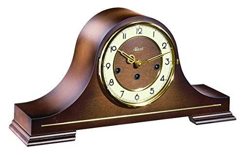 Hermle Hand Made Tambour Style Mantle Clock - Walnut Finish