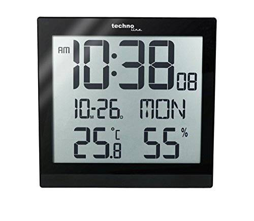 Technoline WS 8015 Digital table clock Plaza Negro - relojes de mesa (224 mm, 23 mm, 224 mm, LCD, AA)