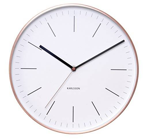Karlsson Minimal - Reloj de pared, perfil de cobre, color blanco