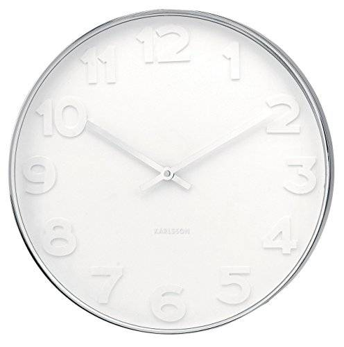Karlsson Mr. White - Reloj de pared, números en acero pulido