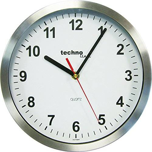 Technoline WT 7650 - Reloj de pared de cuarzo (25 cm), color plateado