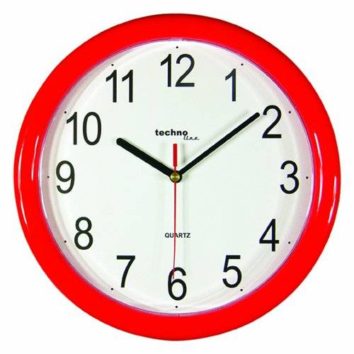 Technoline Wt 600 - Reloj de Pared (Movimiento de Cuarzo), color rojo