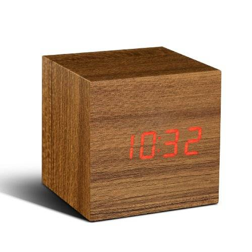 Gingko Cube Teak Click Clock Red LED