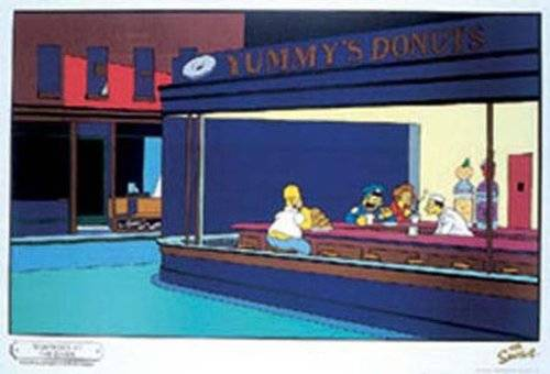 1art1® Empire 12159 300 - Póster de Los Simpsons imitando cuadro de Edward Hopper (91,5 x 61 cm)