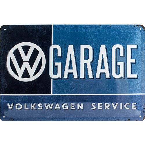 ART Nostalgic Art VW Garage - Placa decorativa, metal, 20 x 30 cm, color azul y blanco