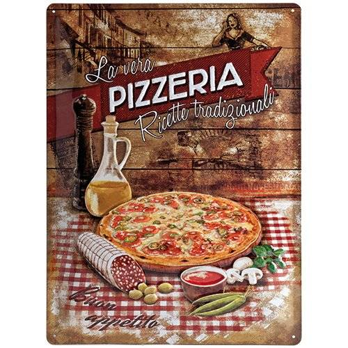 ART Nostalgic Art Pizzeria La Vera - Placa decorativa, metal, 30 x 40 cm, multicolor