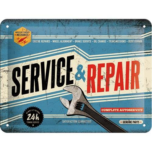 ART Nostalgic Art 26179 Best Garage Service y Repair, Cartel de chapa, 15 x 20 cm