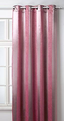 HomeMaison HM69311-11 - Cortina de trabillas (poliéster, 140 x 260 cm), color rosa