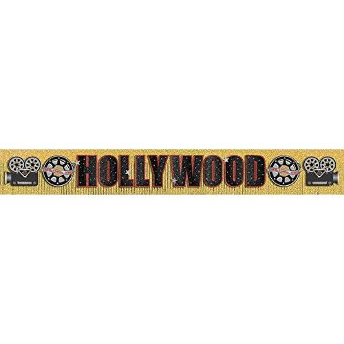 Amscan Hollywood - Pancarta (3 m, efecto brillante), diseño de Hollywood