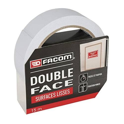Facom 84431 adhesiva doble cara Surfaces lisos, 15 m x 30 mm, Gris