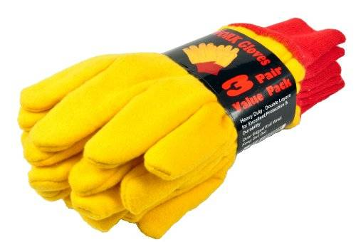 Desconocido G & F 5414-3 Heavyweight Yellow Chore Winter Work Gloves, Double Layers, Large, 3 Pair Pack