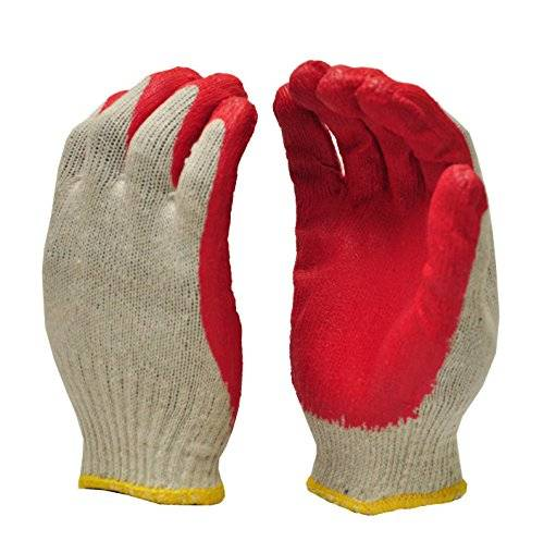 Desconocido G & F 3106-10 String Knit Palm, Latex Dipped Nitrile Coated Work Gloves for General Purpose, 10-Pairs Per Pack, Red, Large