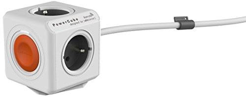 Allocacoc PowerCube Extended Remote Type E(FR) - bases múltiples (Gris, Color blanco)