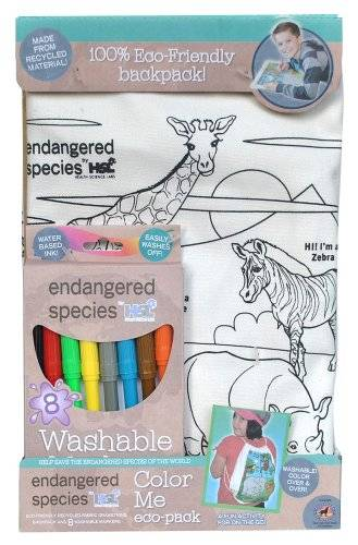 Endangered Species by Sud Smart Color Me Eco-Pack Activity Back Pack, Safari by Endangered Species by Sud Smart