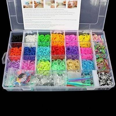 Global Supply Store 2200 colores del arco iris Loom torcedura Rubber Band pulsera Hacer Set, incluye encantos libres
