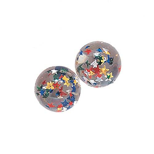 Unique Party -  Regalitos para Fiesta - Pelotas de Goma Transparente con Estrellas - Paquete de 12 (45002)