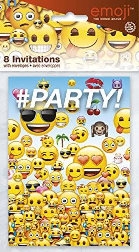 Unique Invitaciones de fiesta de emoji, pack de 8
