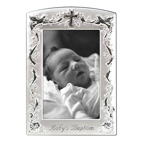 KIDS-OUTLET Malden Baby Baptism Two-Tone, 4 x 6 inch Picture Frame, Pewter by Malden