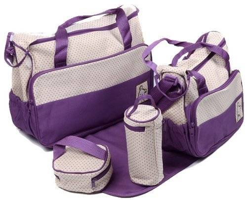 Baby World 5 Piece Baby Changing Bag - Various Colours (Purple) by Baby World