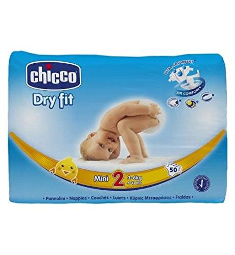 Chicco Couches Jetables Dry Fit Taille 2Mini 3-6kg 6-Taille 1Lot de 50couches