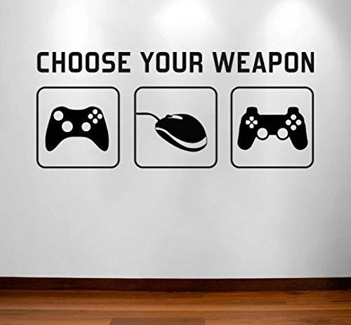 RaDecal CHOOSE YOUR WEAPON   Video Game Gaming Vinyl Decal Wall Sticker Mural - Kids Children Boys Teenager Teens Bedroom, Man Cave Room Art Ideas Canvas Home Decor (PC, XBOX, PLAYSTATION Game Controllers) by Radecal