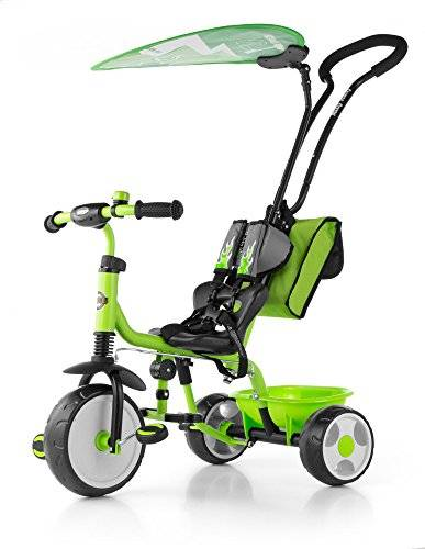 Milly Mally 5901761121827 – Triciclo con timbre, sol techo protector, Verde