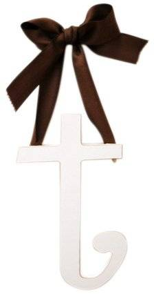 New Arrivals Wooden Letter T with Solid Brown Ribbon, Cream by New Arrivals