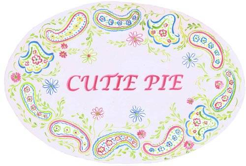 The Kids Room by Stupell Cutie Pie with Paisley Border Oval Wall Plaque by The Kids Room by Stupell