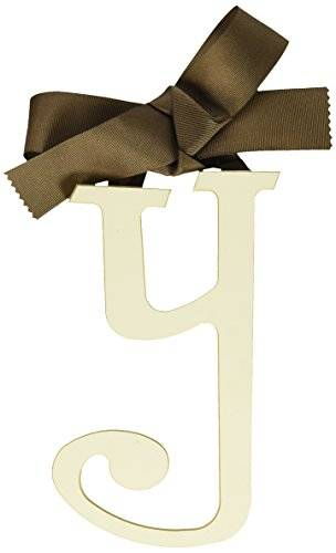 New Arrivals Wooden Letter Y with Solid marrón Ribbon, Cream