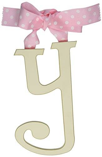 New Arrivals Wooden Letter Y with rosa Polka Dot Ribbon, Cream