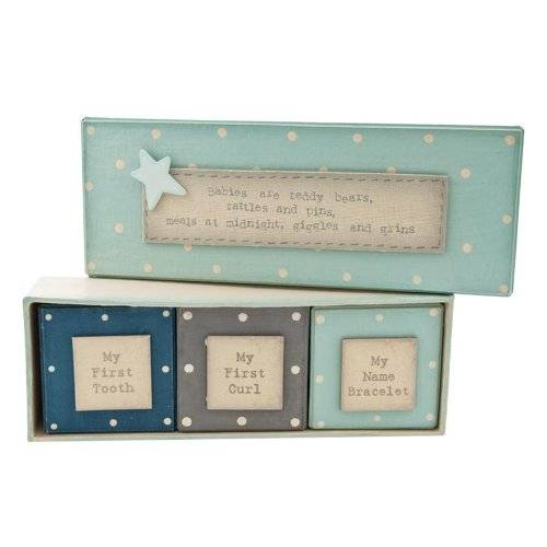East India East of India Baby Boy Blue First Tooth Curl Gift Box