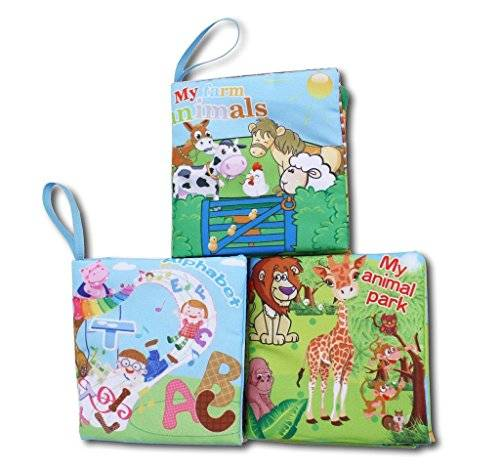 Agooding Soft Cloth Baby Books Set of 3-Bright Color Pictures for Boys or Girls-visual Learning,expression Keepsake by Agooding