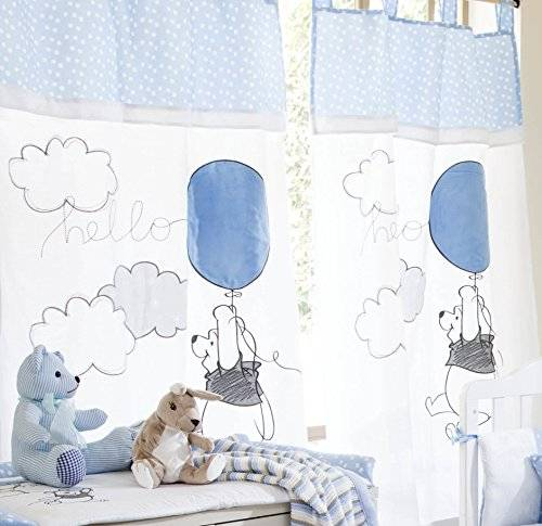 Baby Bedding Design Blue Pooh Play 2 Curtains