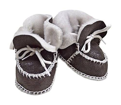 Wildash London Toscana SHEARLING Supersoft oveja bebé patucos marrón glitter brown suede & white shearling Talla:Size 3-12 months