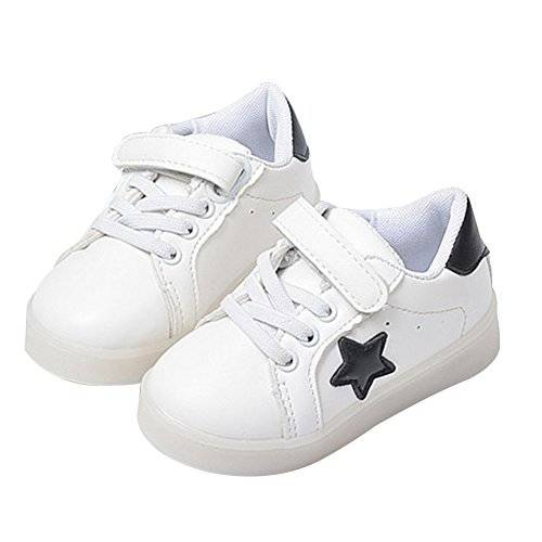 originaltree luz LED hasta zapatos de niña Boy Star antideslizante zapatos de bebé Zapatillas blanco blanco Talla:25