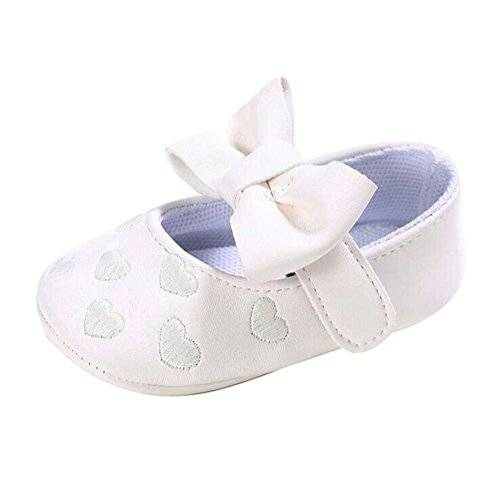 hibote Bebé recién nacido Princesa de cuero suave Big Bowknot Toddler Prewalker Shoes White 12-18M