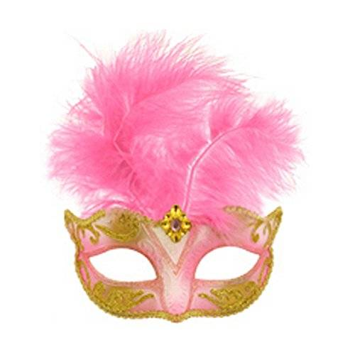 Henbrandt MASK EYE GLITTER W/FEATHERS 6 ASTD