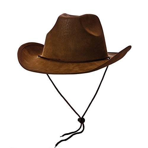Wicked Cowboy Hat - Super Deluxe Brown Suede Fancy dress accessory