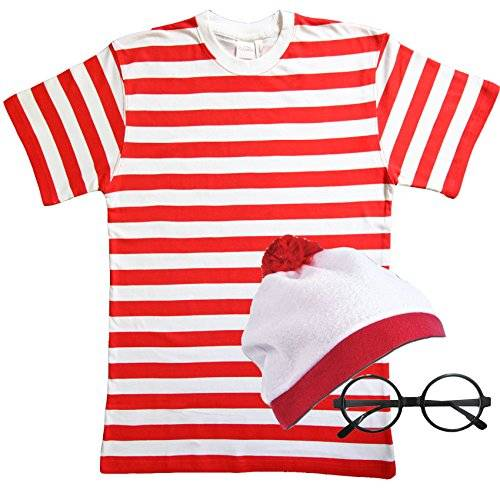 PAPER UMBRELLA MENS LADIES RED & WHITE STRIPED TSHIRT HAT & GLASSES Fancy Dress (Men: Small) by PAPER UMBRELLA