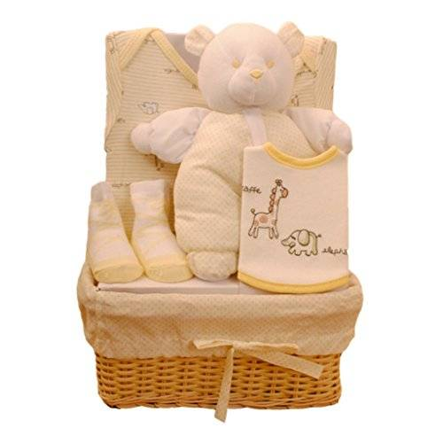 Kris X Kids Bee Bo Baby Gift Set with Bodysuit, Bib, Socks and Teddy Bear in a Rattan Basket. 0 - 3 Months. Available in Blue, Pink, Cream, Lemon or White., [Importado de UK]
